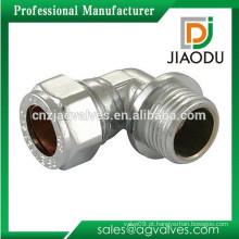 10 milímetros ou 15 milímetros ou 22 milímetros ou 28 milímetros de latão cromado macho rosca compressão montagem conector para tubo de cobre cotovelo articulação de 90 graus