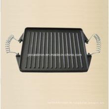 China Gusseisen Steak Griddle Platte mit Metall Griff