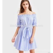 Venta al por mayor Princesa Adult Stripe Puffy Sleeve Off-hombro Frocks Lady Fashion Dress
