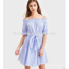 En gros princesse Adulte rayure manches bouffantes Off-épaule robes Lady Fashion Dress