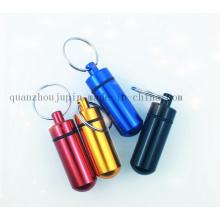 Chaîne de porte-clés de porte-clés de porte-clés de bouteille de pilule de secours en métal d'OEM