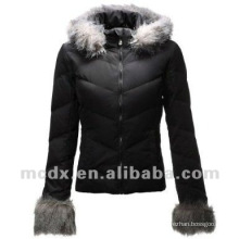 Women feather down winter coats with fur hood