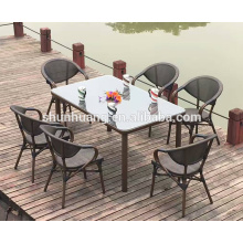 Aluminum fabric garden furniture bistro dining sets chair and table