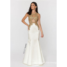 Ladies Gold Embroidered Evening Dress