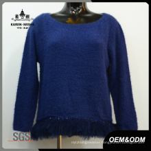 Women Blue Feather Hem Swaeter
