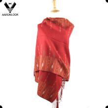 Nueva bufanda tejida jacquard con flecos