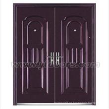 Puerta de hierro forjado barato de puerta de hierro de acero de la seguridad