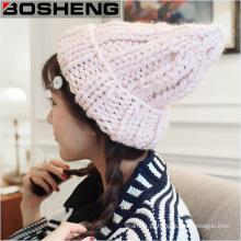 Womens Knit inverno quente lã casuais bonitinho chapéu de beanie do esqui