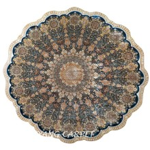 11.2`x11.2`Large Size Hand Knotted Pure Silk Carpet Round