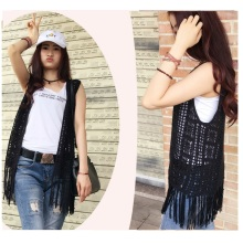 New Design Ladies Sexy Hand Crochet Fringe Vest Beachwear Dress