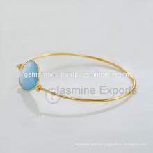 Handmade Vermeil Gold Natural Gemstone Latest Design Daily Wear Bangle In Wholesale