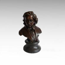 Bustos Estatua de bronce Músico Schubert Decoración Escultura de bronce Tpy-804