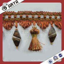 Franja de borla de tela de encaje de China