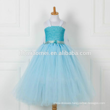 China factory supply blue color long style flower girl dress wholesale boutique baby girl floral tutu dress with cheap price