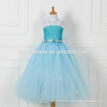 Китай завод питания синий цвет длинные стиль девушки цветка платья оптом бутик девочка цветочные платья пачки с дешевым ценой