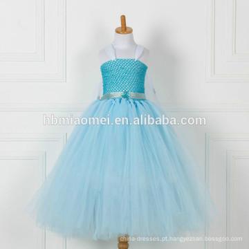 China fornecimento de fábrica cor azul longo estilo flor menina vestido atacado boutique bebê menina vestido de tutu floral com preço barato