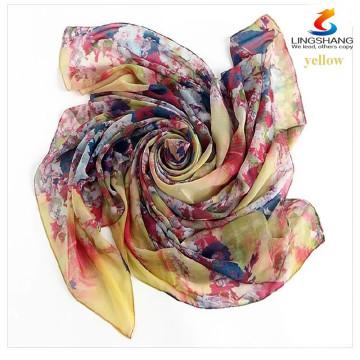 Элегантные женщины Дамы Шелковый площади Шарф Шарфы Бандана атласная голова Wrap шаль