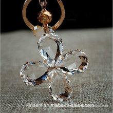 Precioso trébol de cuatro hojas llavero de cristal