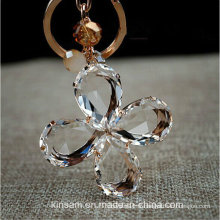 Belle porte-clés en verre de trèfle à quatre feuilles