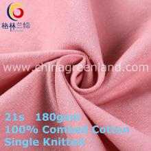Tecido de malha de algodão único tecido Jersey para roupas têxteis (GLLML407)
