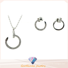 Golden Silver Color Platinum Plated Necklace Earrings Circle Design Fashion Jewelry Set Women′s Wedding Dress S3258