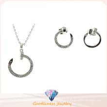 Ouro prata cor platina banhado a colar brincos círculo design moda jóias set mulheres vestido de noiva S3258