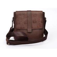 Brown Genuine Leather Shoulder Bag for Man , Nylon Webbing