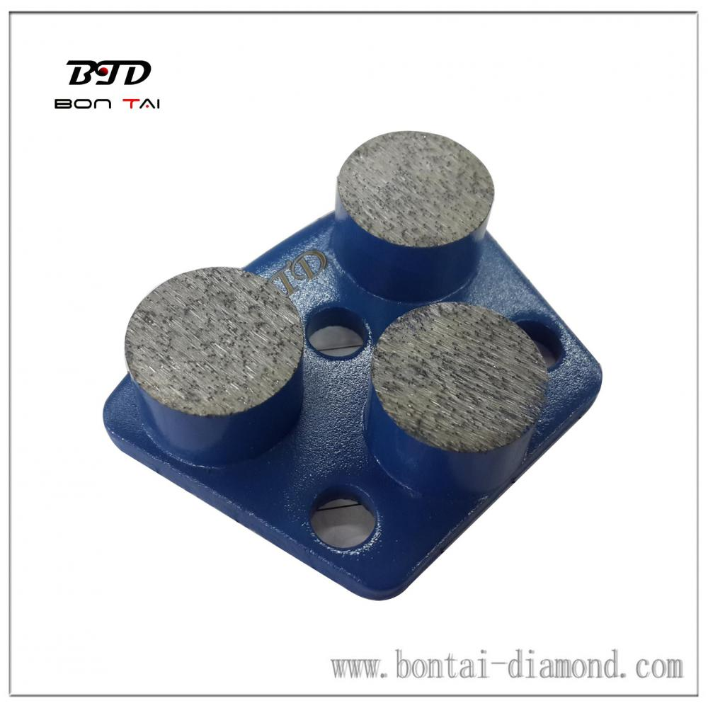 Three segment diamond grinding pads aggressive and efficient