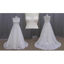 Vestido de boda de una línea de longitud del piso más el tamaño