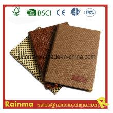 Caderno de papel de capa de couro para presente relativo à promoção