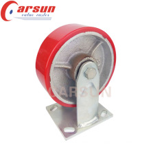8inches Heavey Duty Fixed Caster with PU Wheel Cast Iron Core