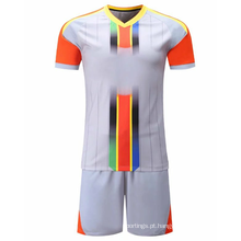 Sublimação em branco vermelho branco Soccer Jersey