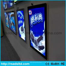 Boîte à lumière mince acrylique d'intérieur d'affichage à LED acrylique