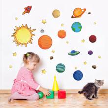 Etiqueta do decalque da parede do sistema solar para a sala das crianças, etiqueta colorida da decoração da parede do PVC