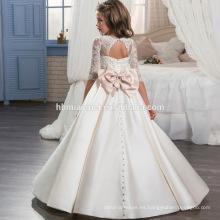 vestido de boda clásico del satén retro europeo y americano del bebé de la manga del medio vestido de tul grueso vestido de niña de flores con cuentas