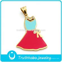 PVD покрытием золото высокой польский нержавеющей стали прелести девушки красочные эмали кулон с блестящей Кристалл для любовника хороший рождественский подарок