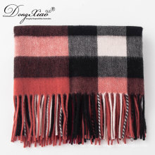 Latest Design Lady Fashion Woollen Scarf Oversized Chunky Tartan Wool Warm Scarf
