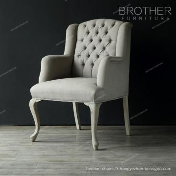 Chaise française classique moderne en tissu tufting