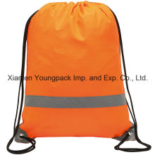 Werbeartikel Custom Orange 210d Polyester wasserdicht Reflektierende Drawstring Bag