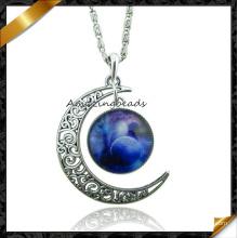 Joyería pendiente de la cadena de la aleación del cinc de la manera, collar creciente de la luna (fn045)