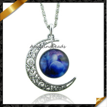 Fashion Zinc Alloy Chain Pendant Jewelry, Crescent Moon Necklace (FN045)