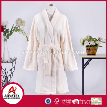 Knee length coral fleece women bathrobe plush sleepwear