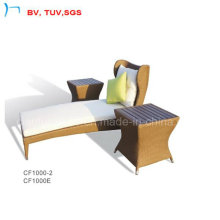 Garden Wicker Chaise Sun Lounge Bed Withside Table (CF1002L+CF1000E)