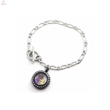Round black floating charms watch jewelry set led necklace for women