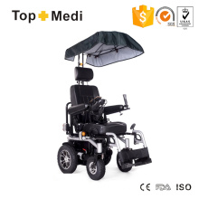 Topmedi Upgrade Electric Power Wheelchair with Awning Cup Phone Holder