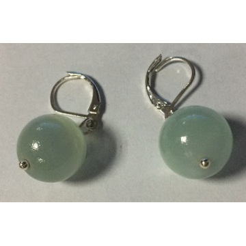 Simple Glass Ball Earrings with Metal