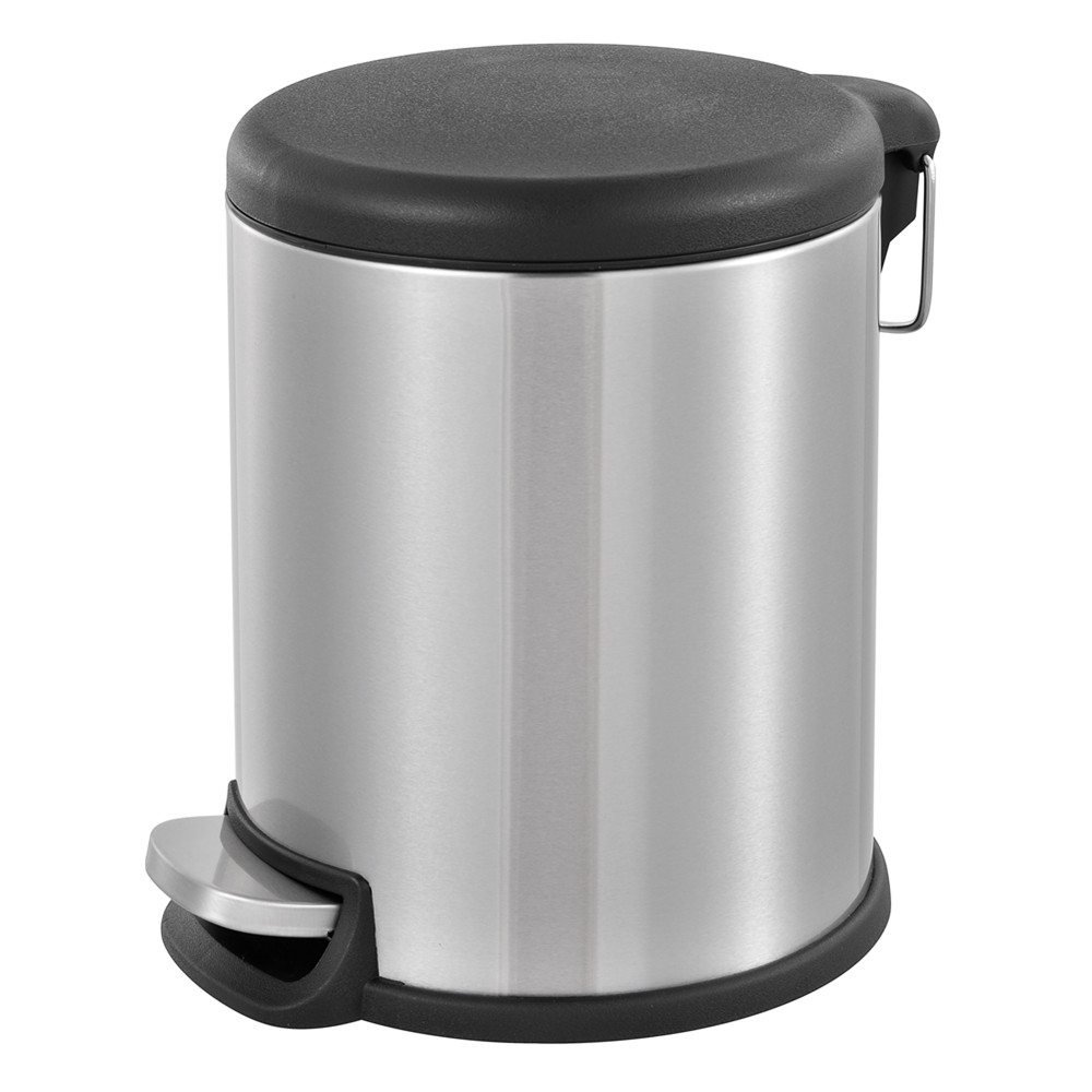Brushed Stainless Steel Kitchen Garbage Can Round Step