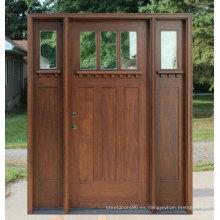 Craftsman Entry Wood Doors con dos puertas laterales y vidrio transparente