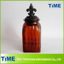 Pot de stockage en verre avec couvercle métallique (TM019)