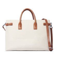 Dames Nylon Canvas Laptop Tote tas Lederen handgrepen